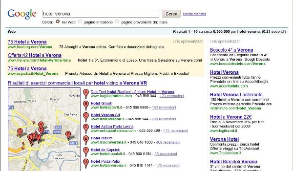 "Serp di Google.it per la query ""hotel Verona"""